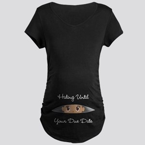 Hiding Until [Your Due Date Maternity Dark T-Shirt